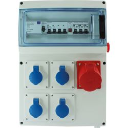 Coffret de Chantier Triphasé 4PC 230V + 1PC 3P+N+T 400V 32A EUR'OHM 19211